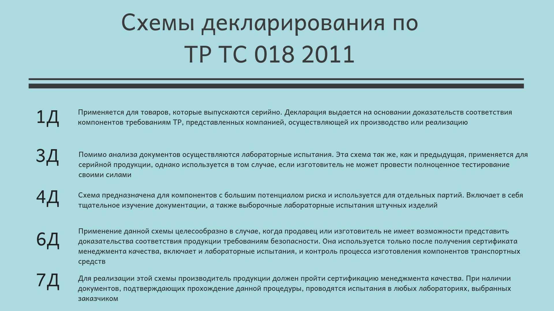 схемы декларирования декларации ТР ТС 018